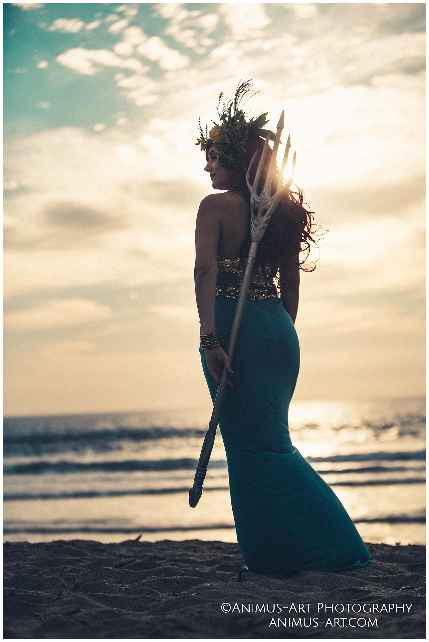 Mera with Trident Aquaman Inspired Beach Shoot.jpg