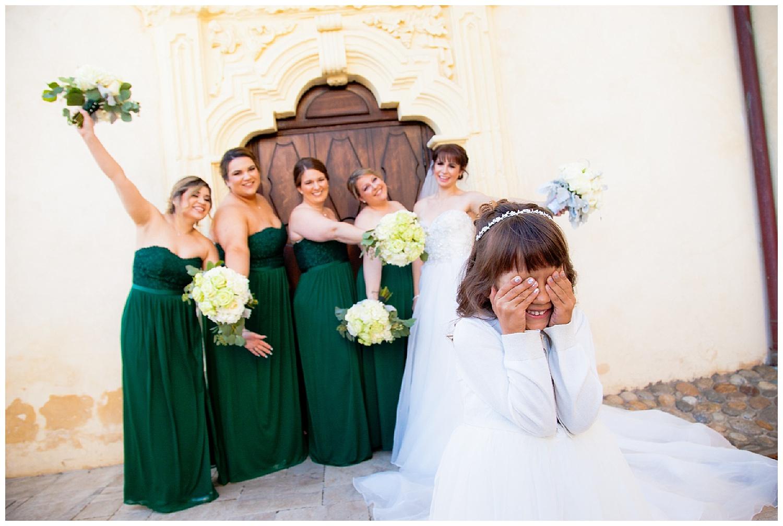 Bridesmaids in green strapless gowns Monterey CA.jpg