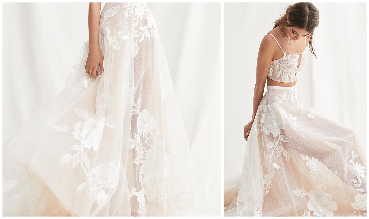 These large, oversized appliqués are place over what is a plain tulle skirt. Instant transformation!