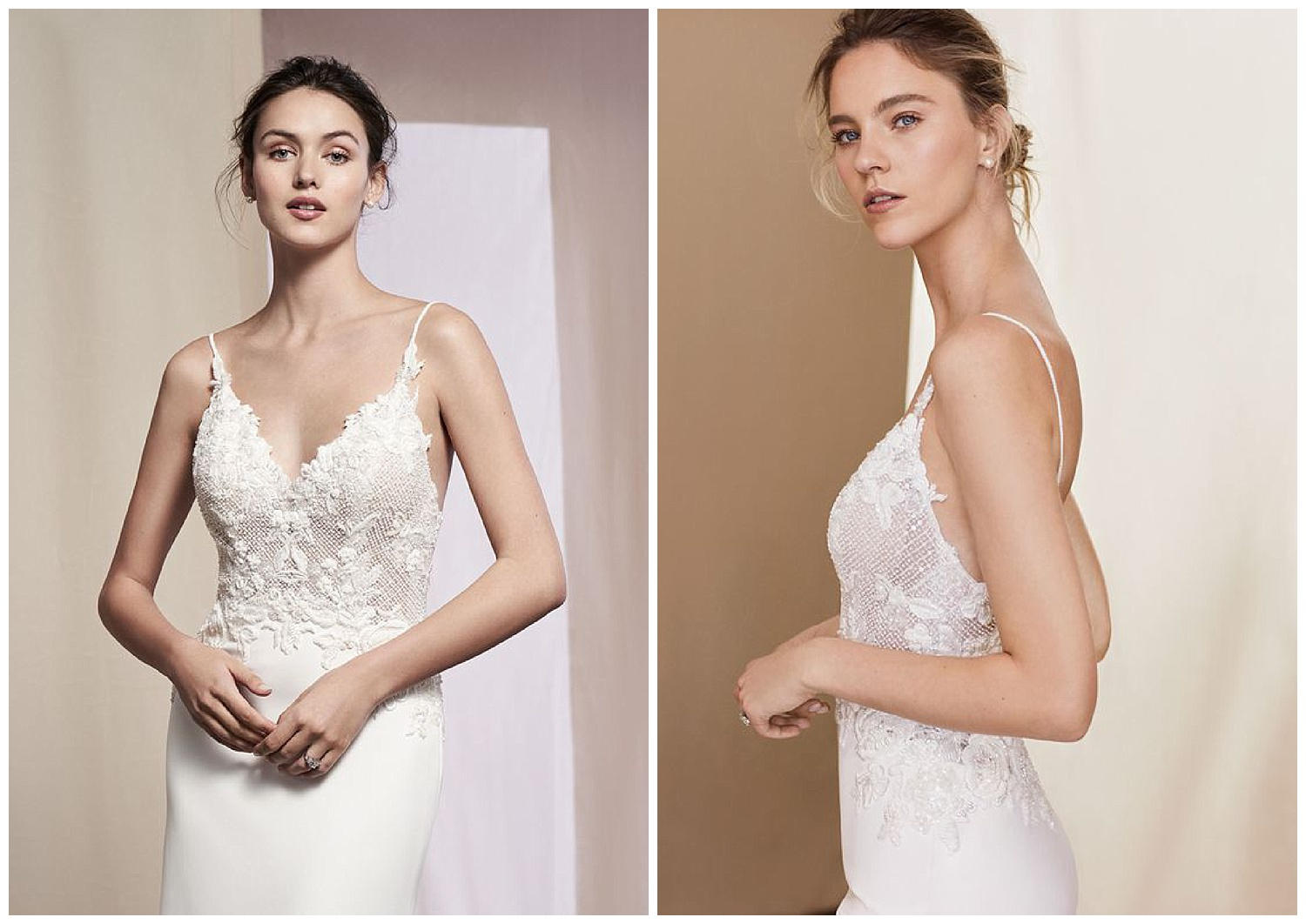 EMBROIDERED BODICE CREPE FIT AND FLARE GOWN - Look your best in this crepe slim gown. Intricate beading with Venice lace illusion bodice. Lace along the back hem finishes the dress.
