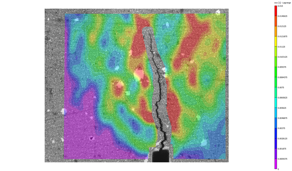 Optical DIC of Fatigue Crack Growth Specimen.  Results from NASA Langley Research Center.