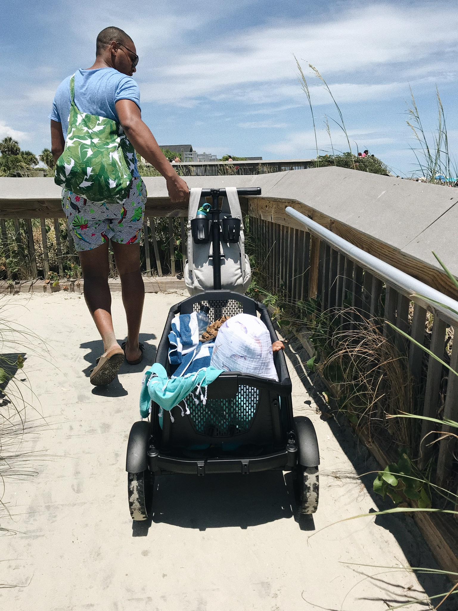 The walk back out with everything sand filled & a tired baby was MUCH easier with the wagon..