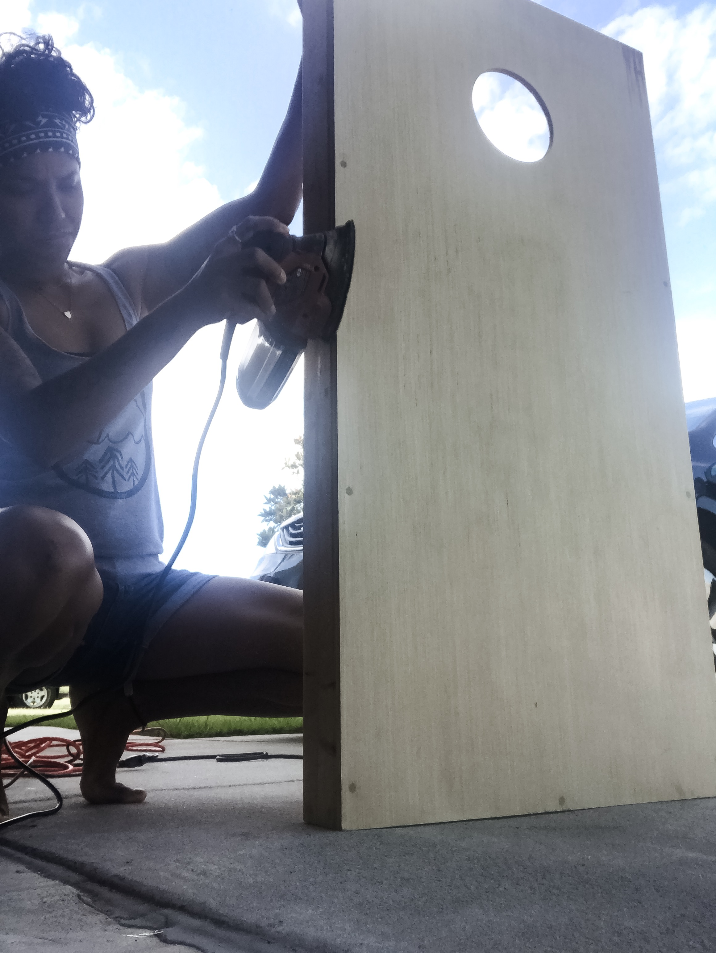 During the sanding.