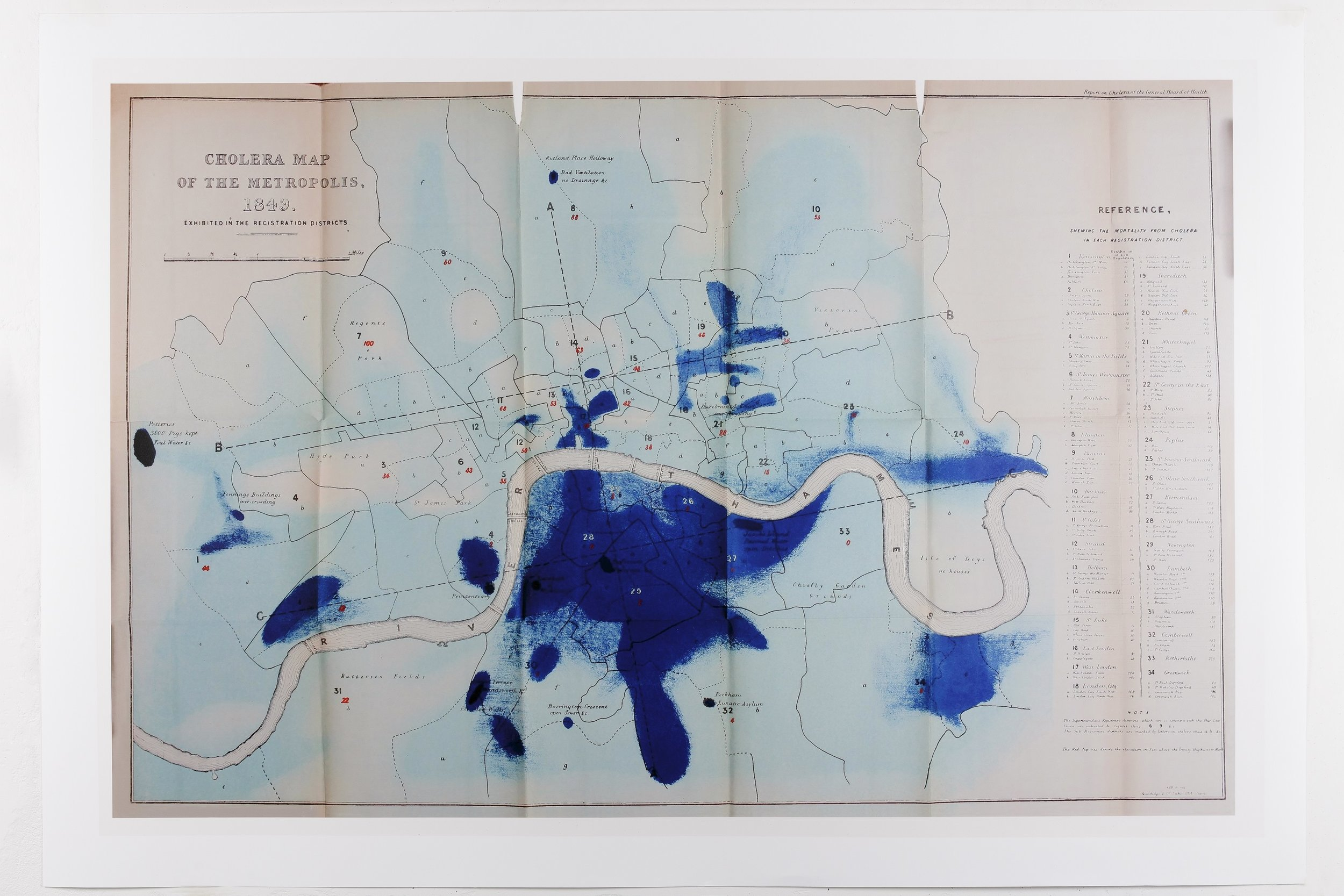 Cholera map of the metropolis of London. 1849. Installation of By the Deep, By the Mark, Somerset House. Photo: Tim Bowditch. Courtesy of the artist.