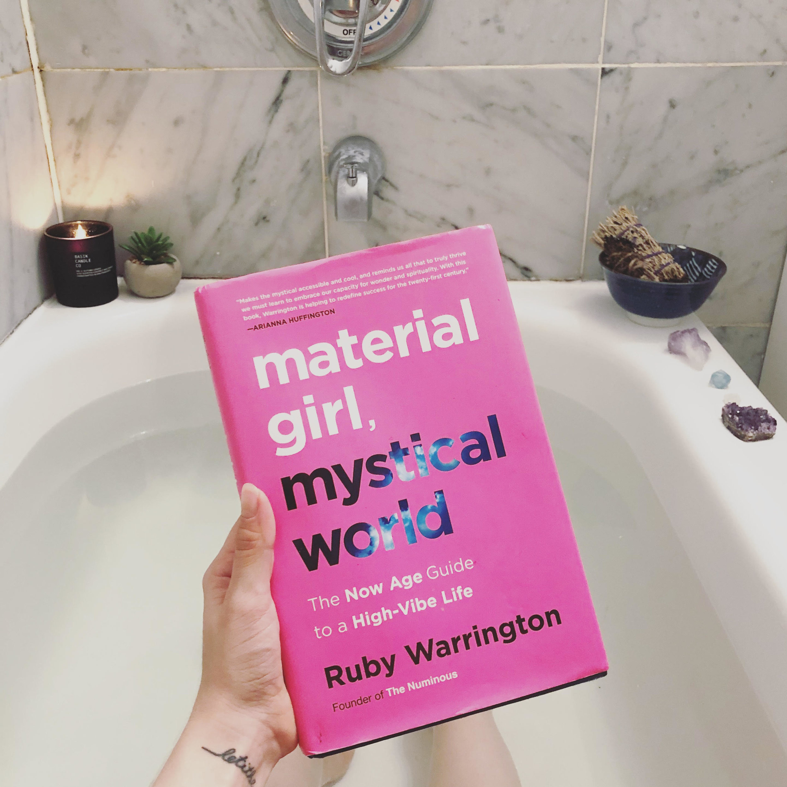 I always like to have a good book to read while I take a bath.  Material Girl, Mystical World  is a must read!