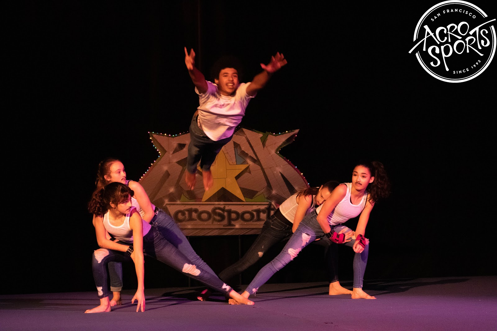 "CircusLab performing at the AcroSports ""Age of Rock"" Cabaret"