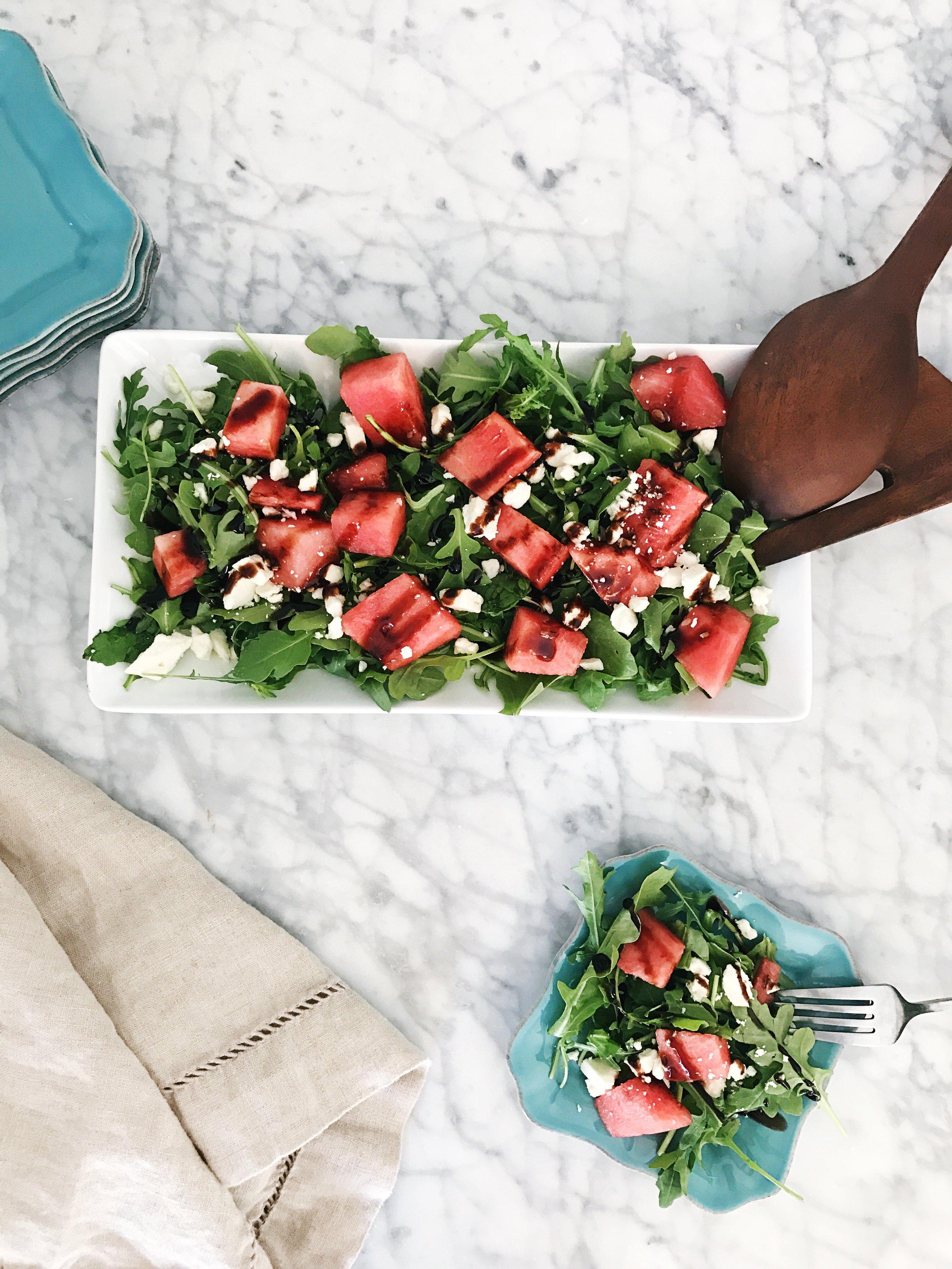 Watermelon, Feta & Arugula Salad - with a balsamic glaze