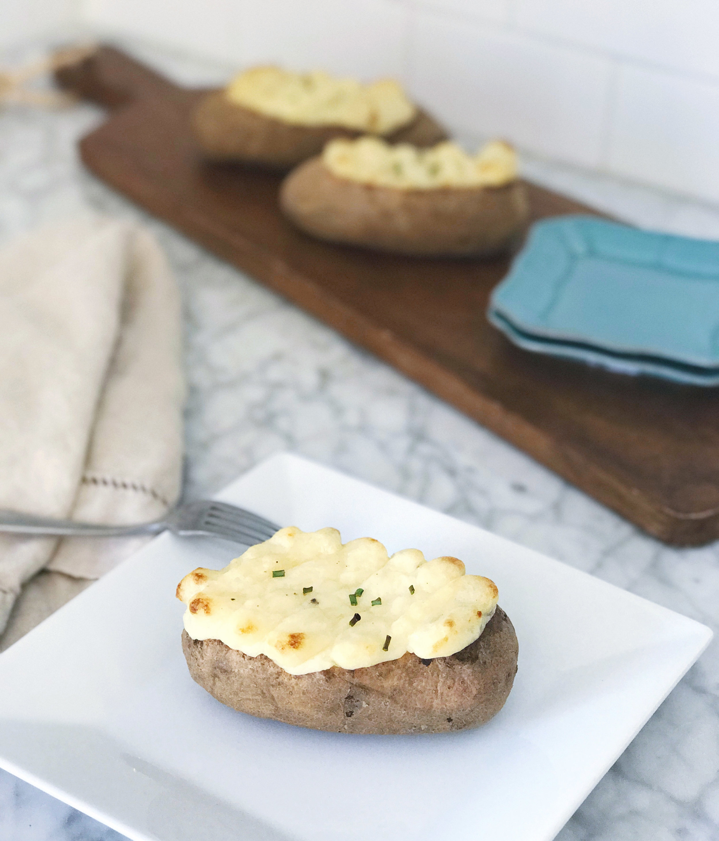 Goat Cheese Twice Baked Potatoes - That Cozy Life
