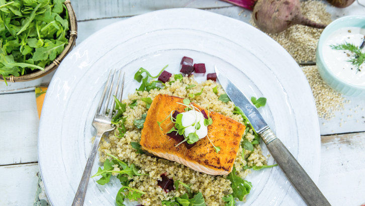 Salmon with horseradish sour cream - and delish super food sides. a must try!