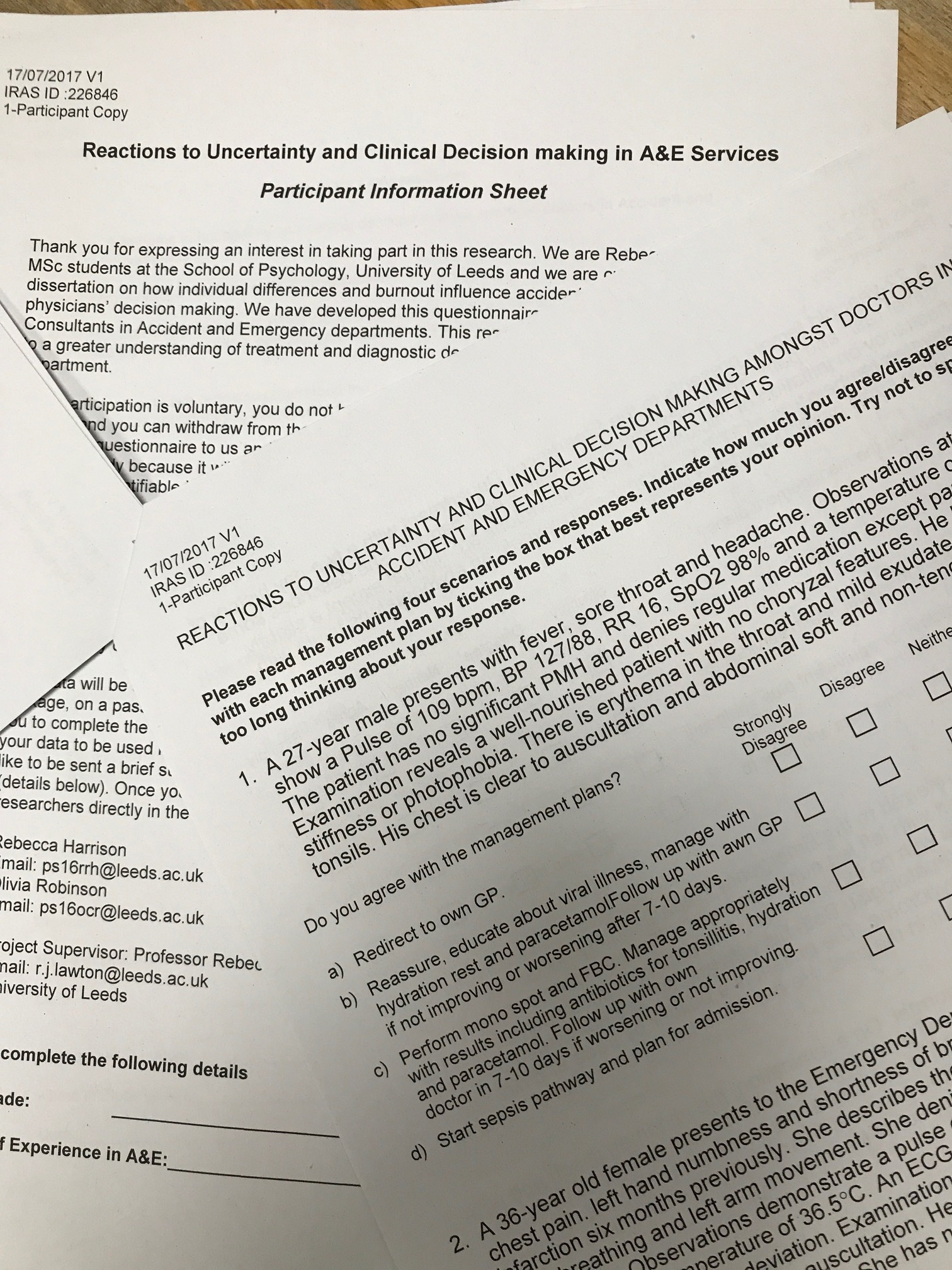 Patient Information Sheet and Questionnaire