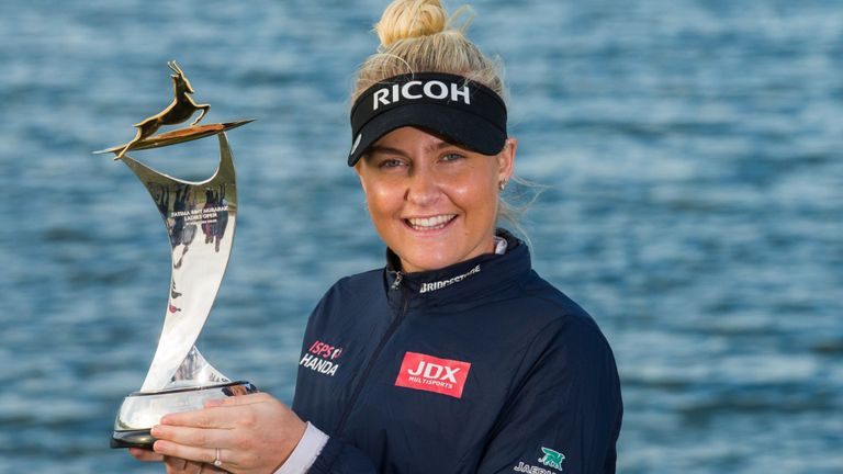 Charley Hull with her tour trophy