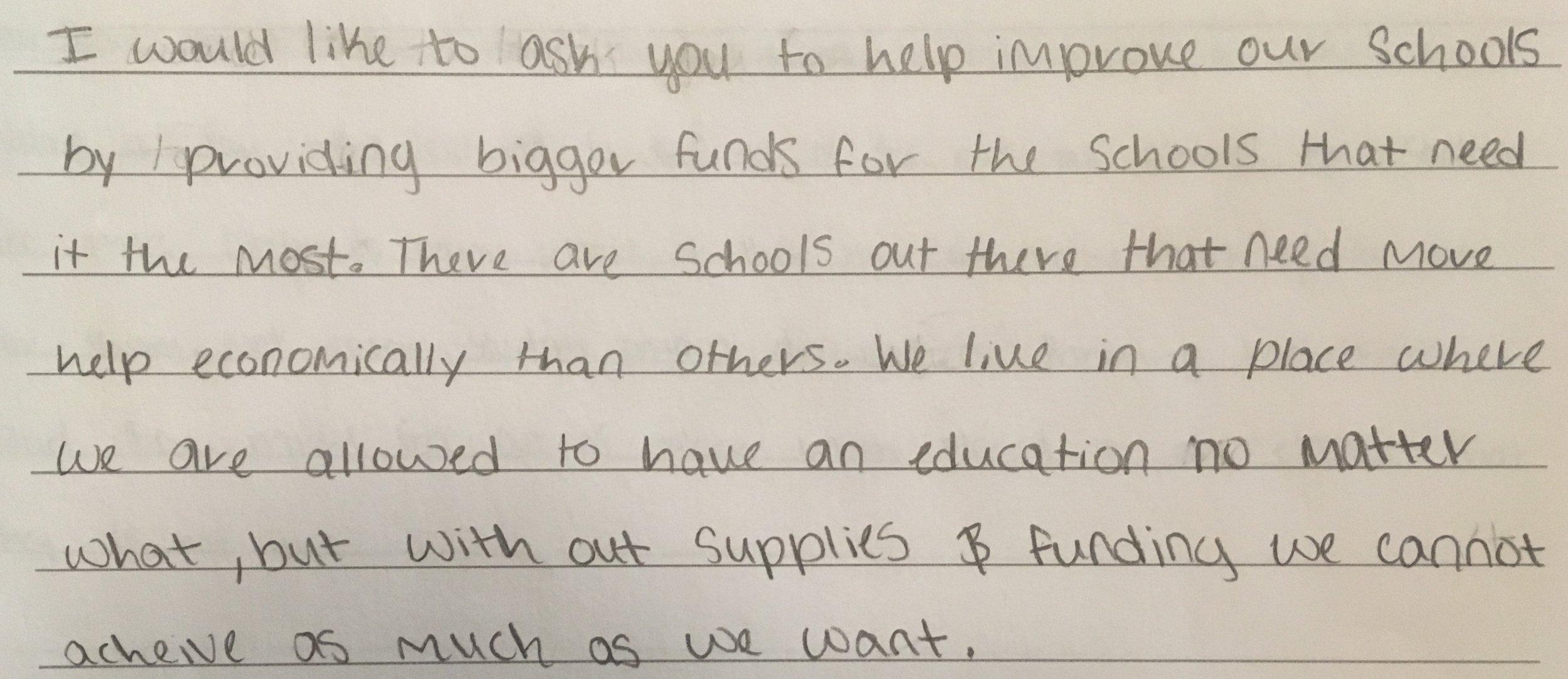 - Evelyn, Grade 8