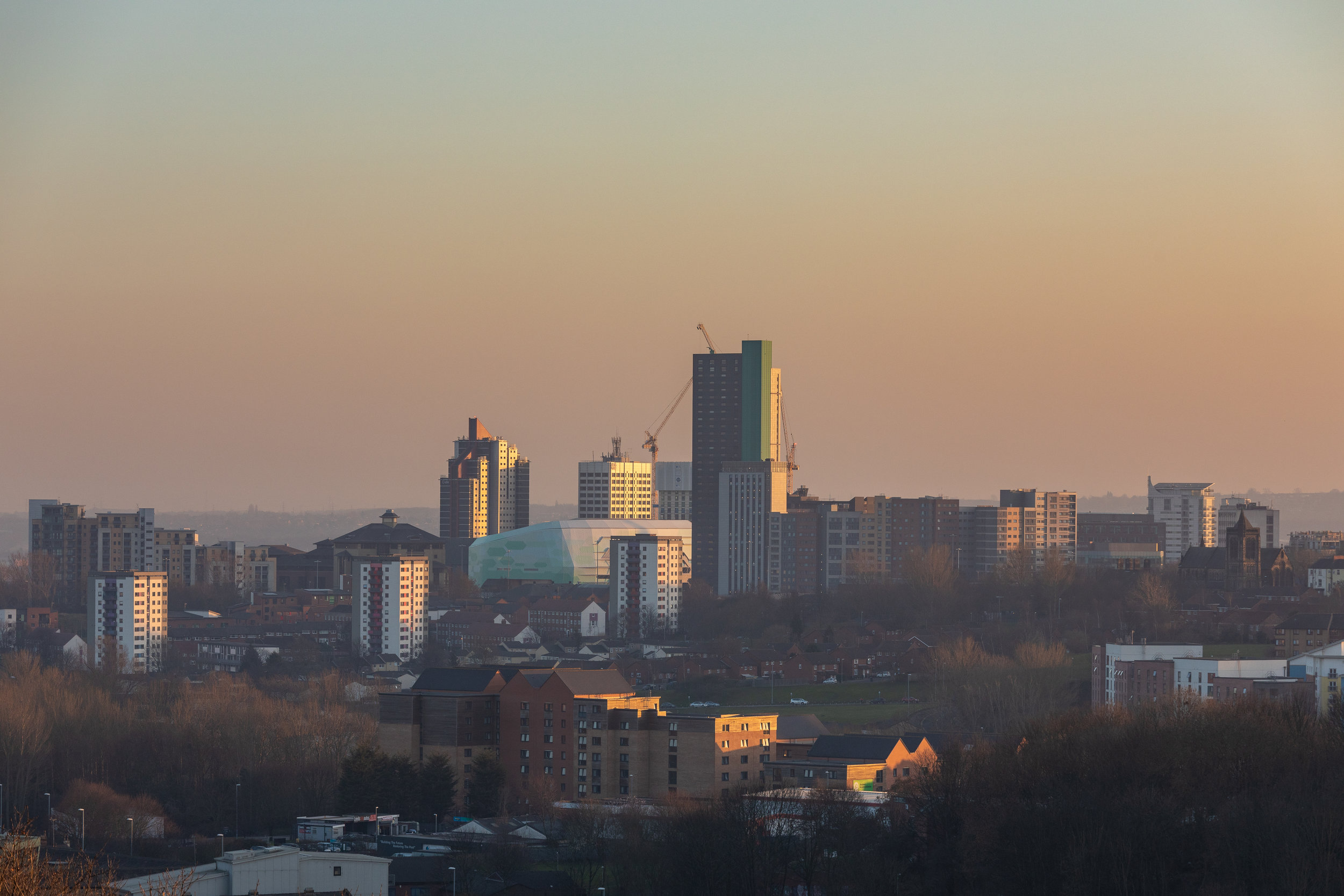 A view of Leeds City Centre from Sugarwell Hill Park