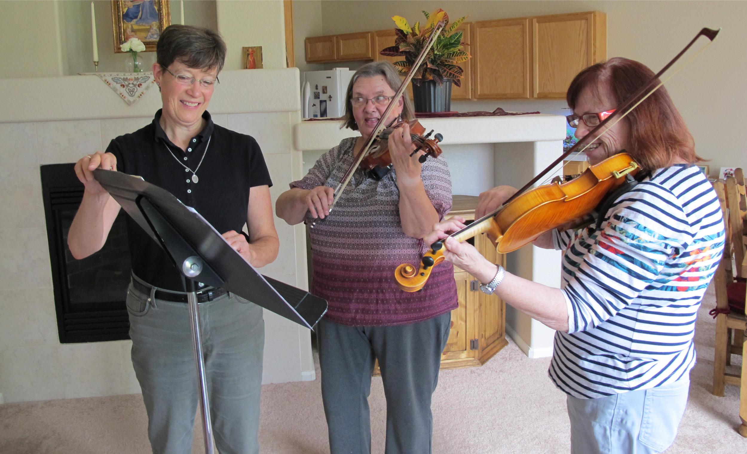 Coaching violin duo,Phyllis and Barbara