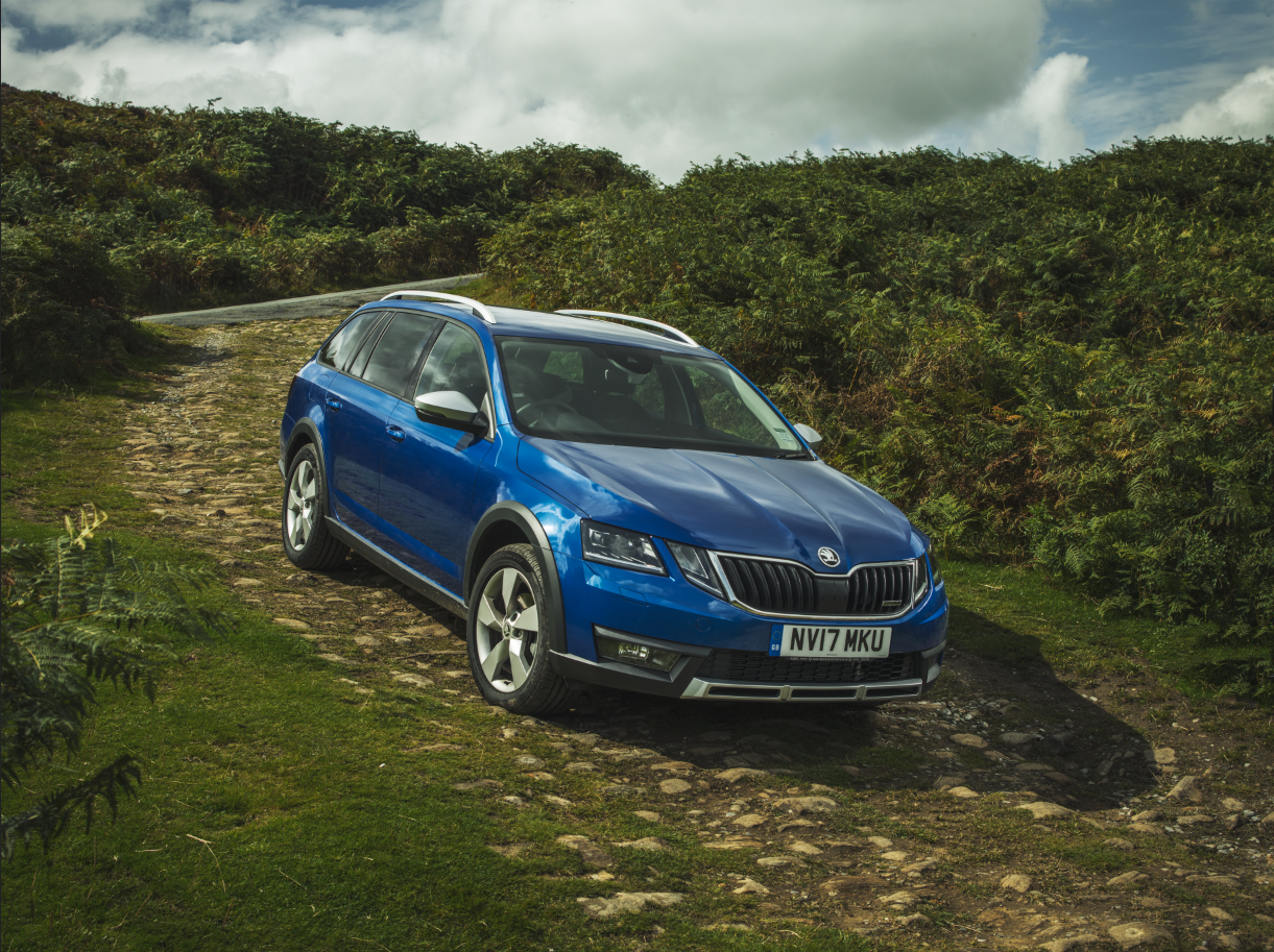 The 4wd ŠKODA Octavia Scout drives on a rough off road in this car advertising shot in Ilkley, Yorkshire. Matthew Lloyd is an award winning young photographer based in harrogate, yorkshire.