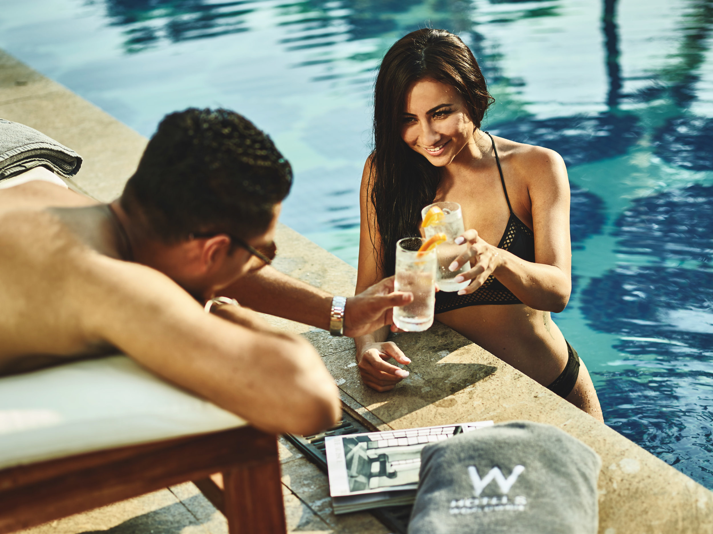 luxury hotel photoshoot poolside with alcohol,  food and beverage photography for alcohol and drinks lifestyle by harrogate, york, leeds and london based portrait lifestyle and advertising photographer matthew lloyd