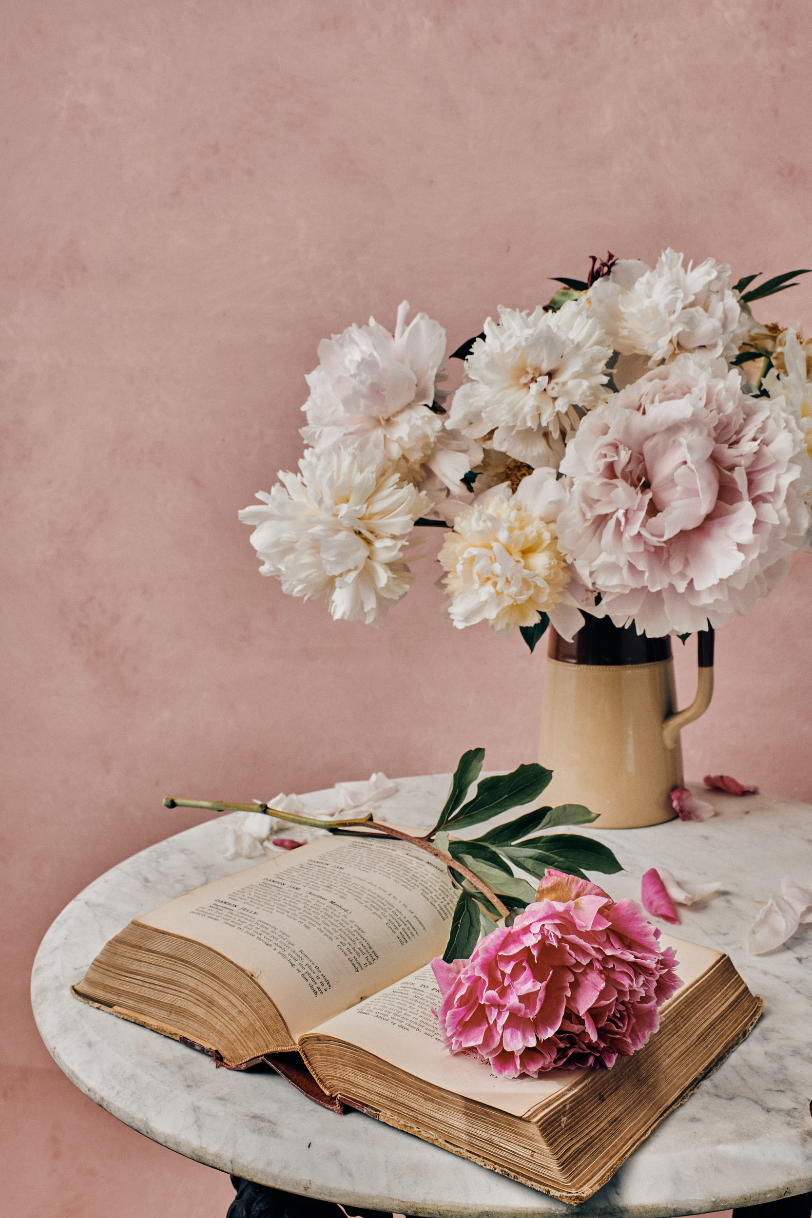 a still life fine art photography of pink peoniesin a vase with Mrs beetons books, in the style of a dutch masters painting by yorkshire based photographer matthew lloyd