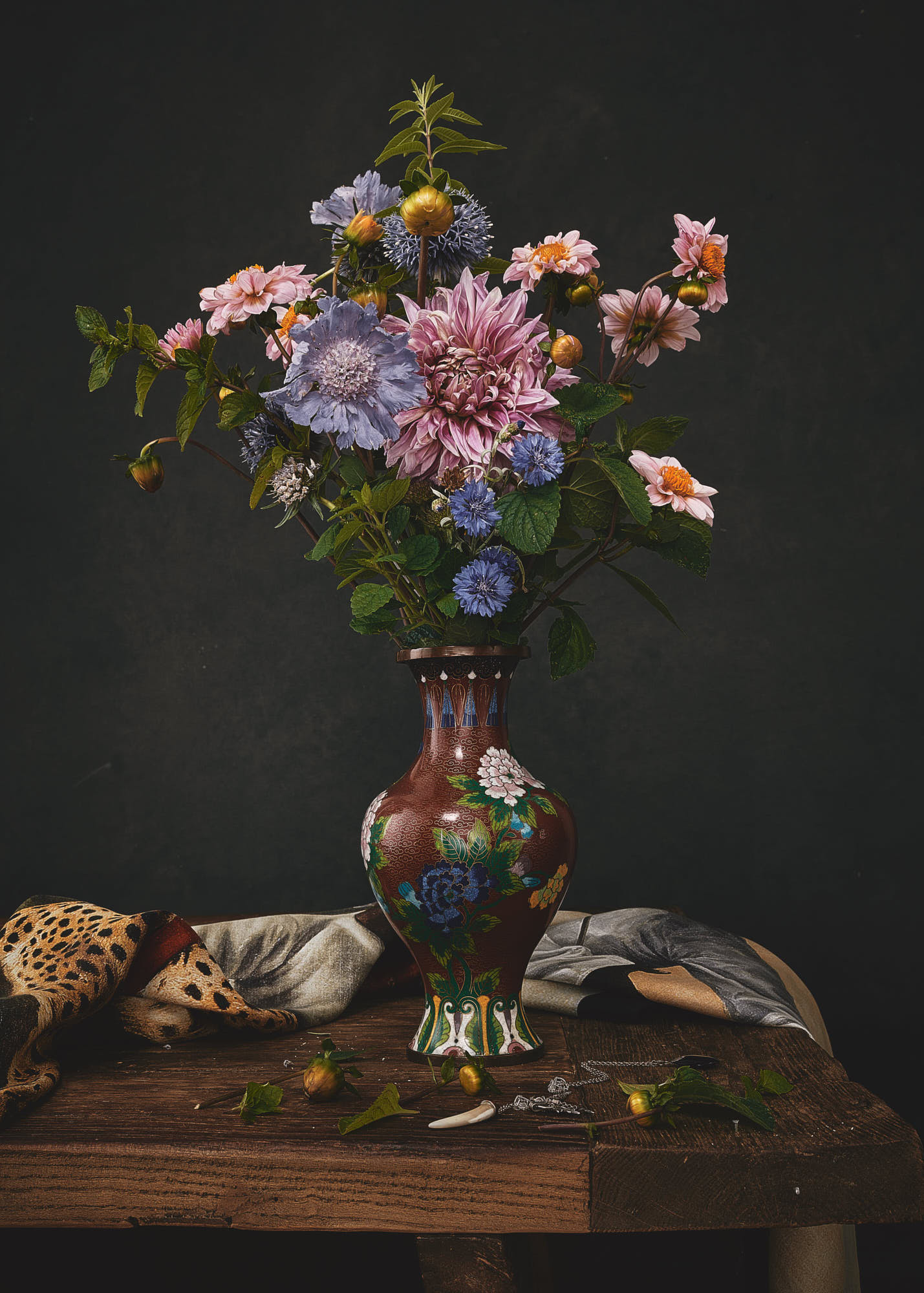 a still life fine art photography of flowers in a vase, in the style of a dutch masters painting by yorkshire based photographer matthew lloyd