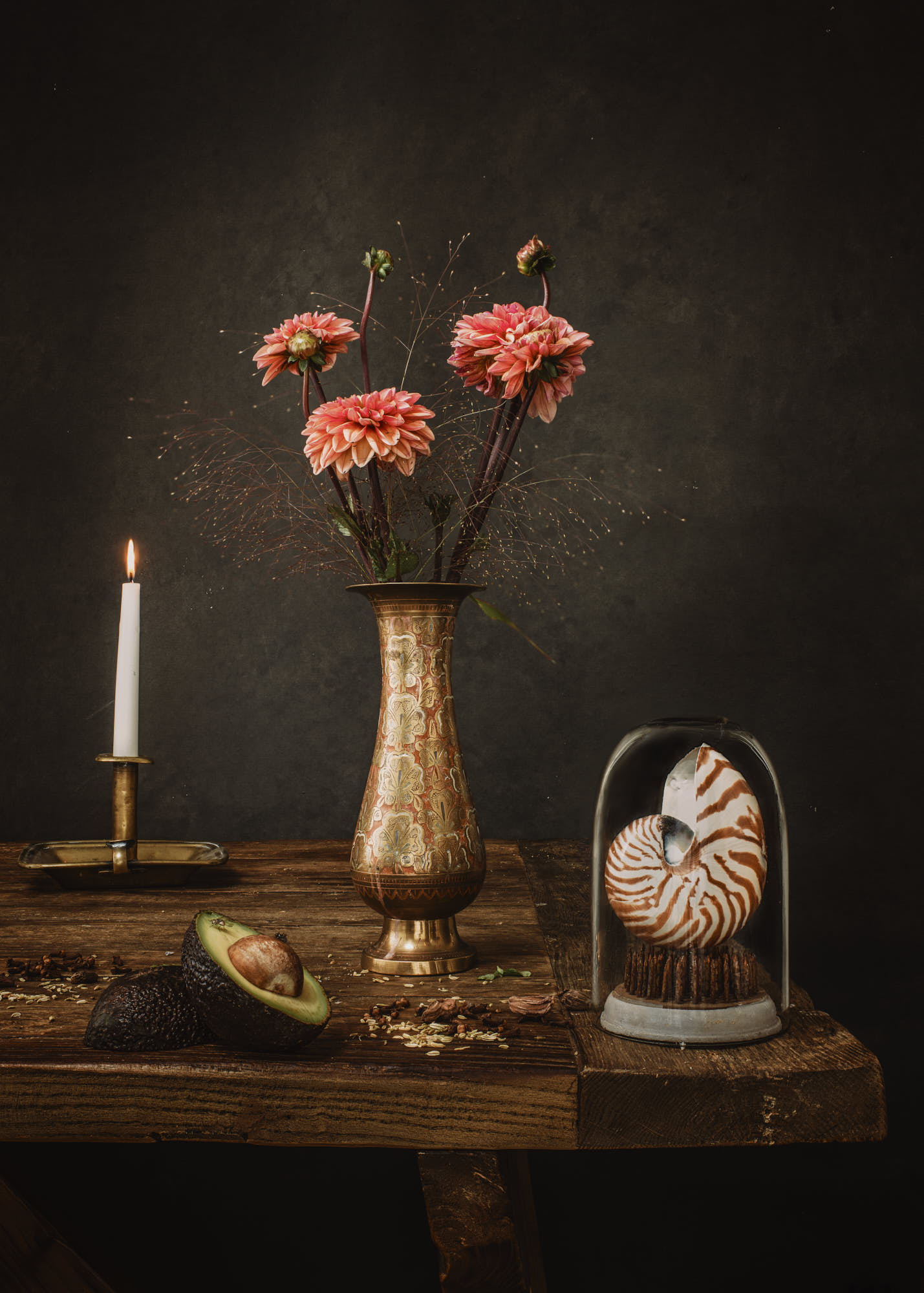 a focus stack still life fine art photography of flowers in a vase with a seashell and avocado in the style of a dutch masters painting by yorkshire based photographer matthew lloyd