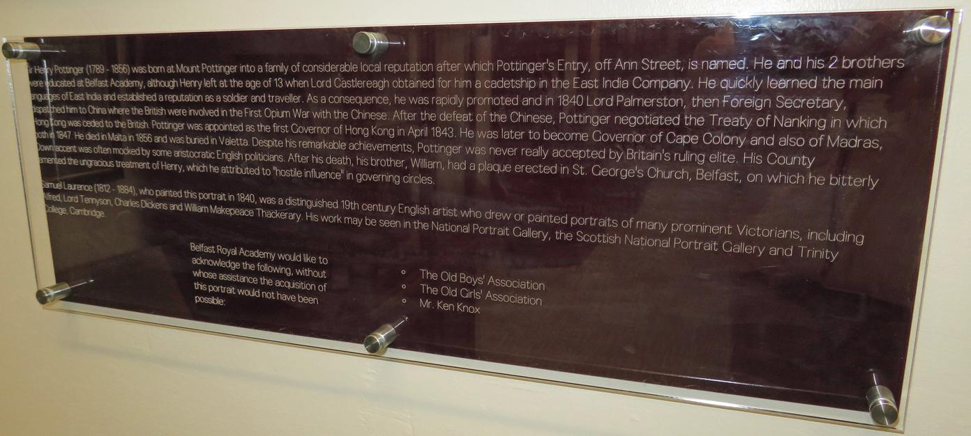 Sir Henry Pottinger Plaque.