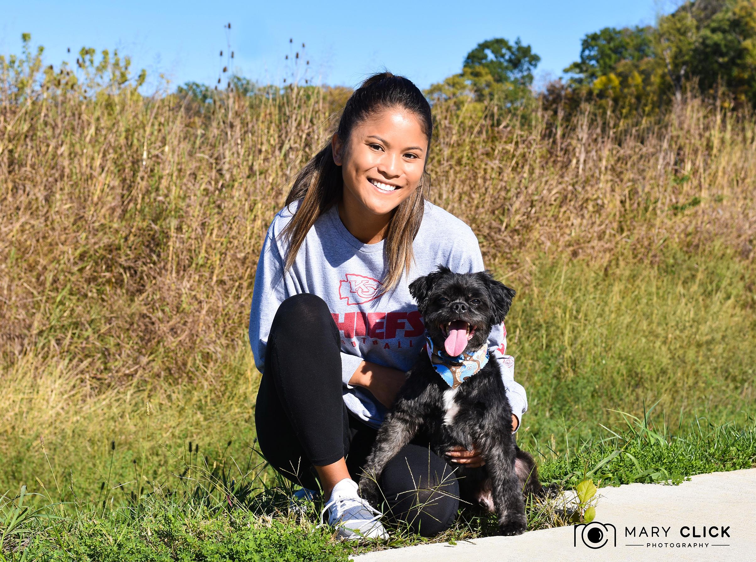 Brighton with CMHS pet volunteer (Julia). Thanks, Julia!