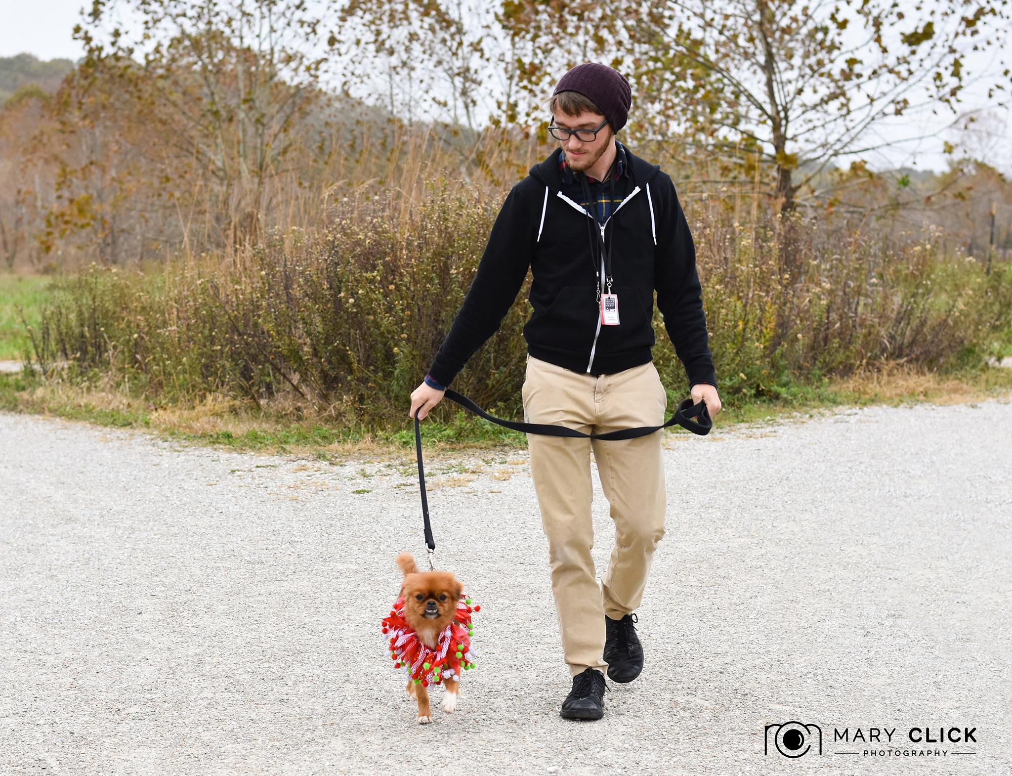 """Prancer"" with Luke (Columbia Missouri Humane Society pet transport volunteer)."