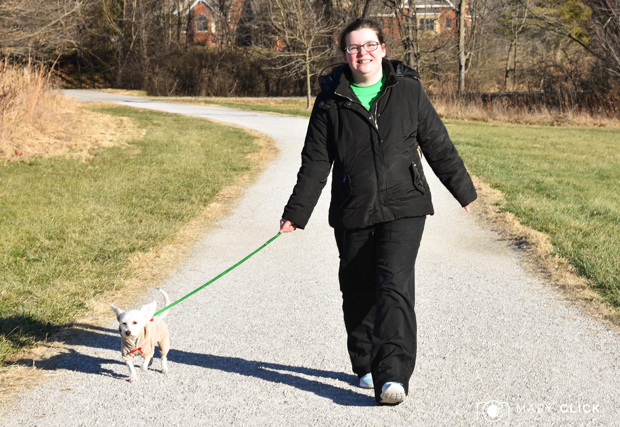"""Ella"" walking with Caitlyn (Pet Transport Volunteer  cmhspets.org )"