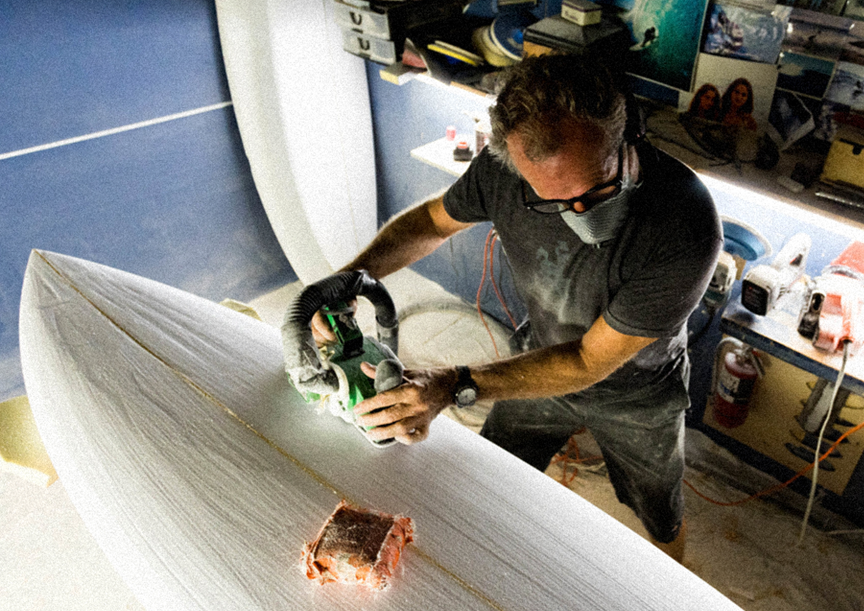 Shaping in studio @  Bessell Surfboards