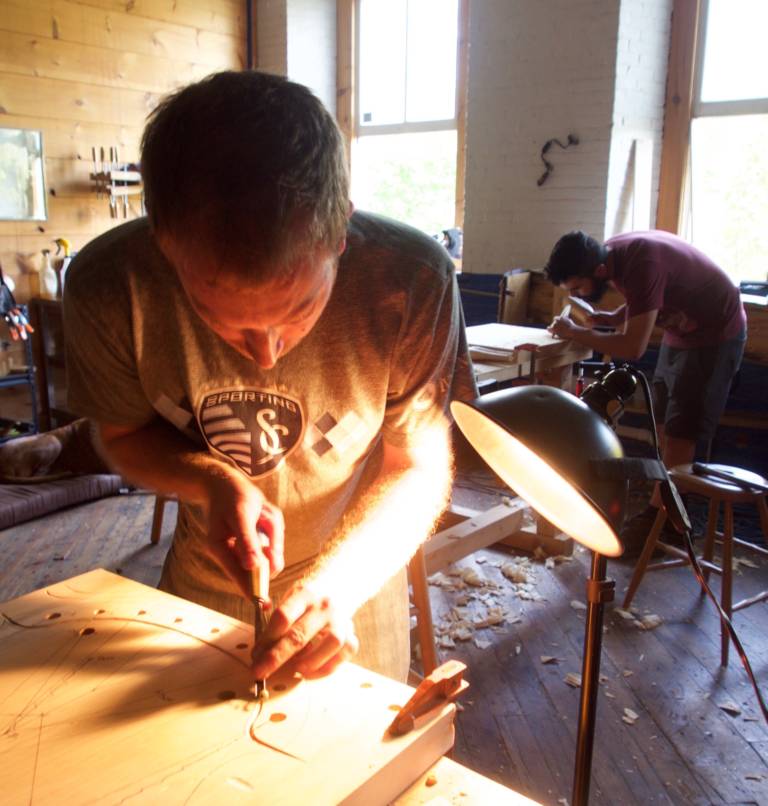 Student making a Windsor chair