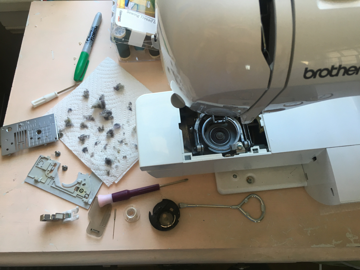 Yuck! This was after 3 weeks of sewing for me. Can you believe some people never clean their machines???