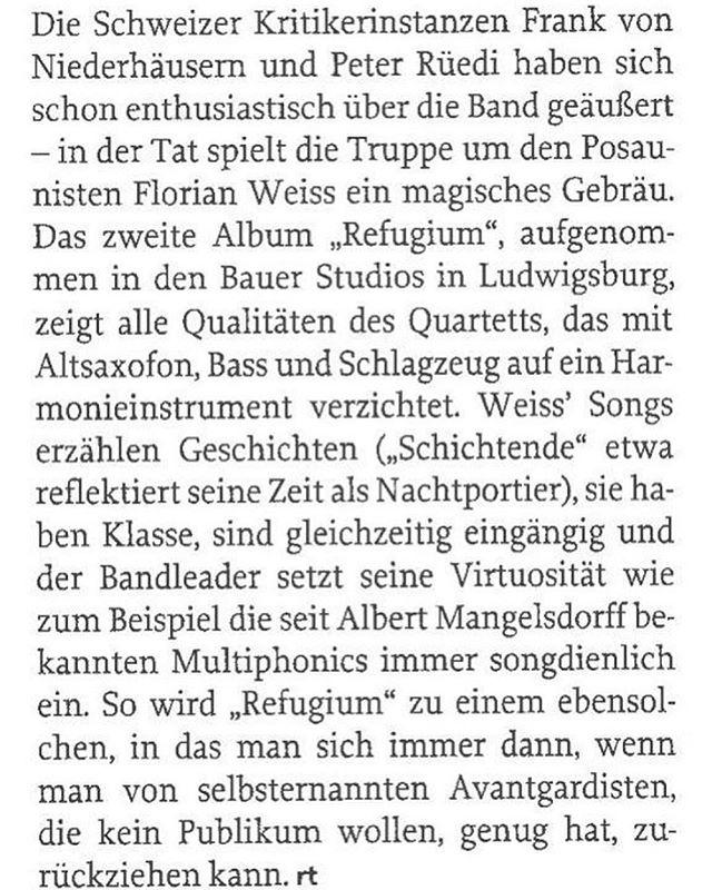 we fully agree!  #jazzthing #review #jazz #newrelease #woodoism #swissjazz #refugium #albumoftheday #albumoftheyear #trombone