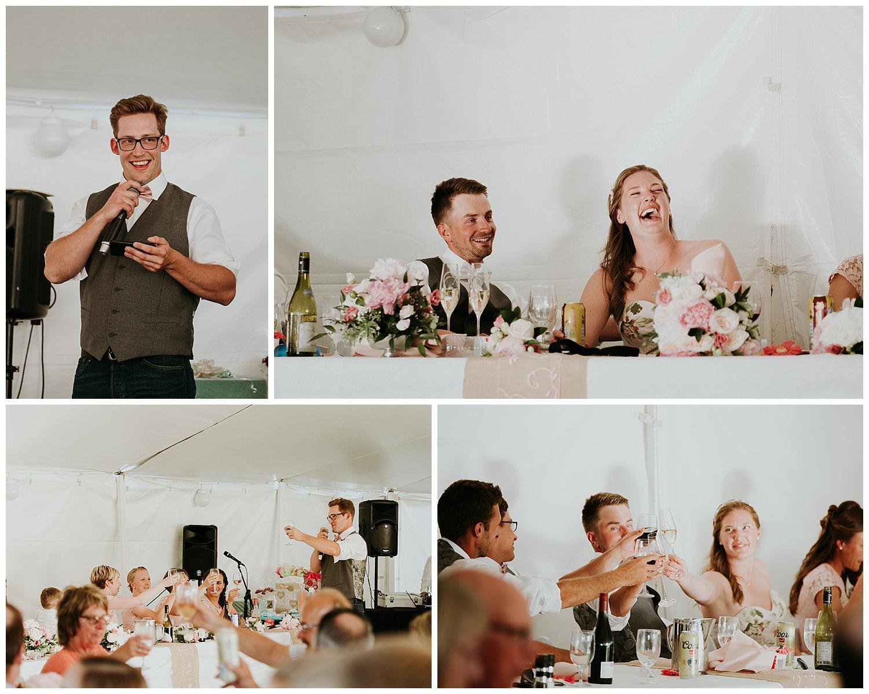 Speeches at Relaxed Frontyard Wedding in Trenton, Ontario   Holly McMurter Photographs