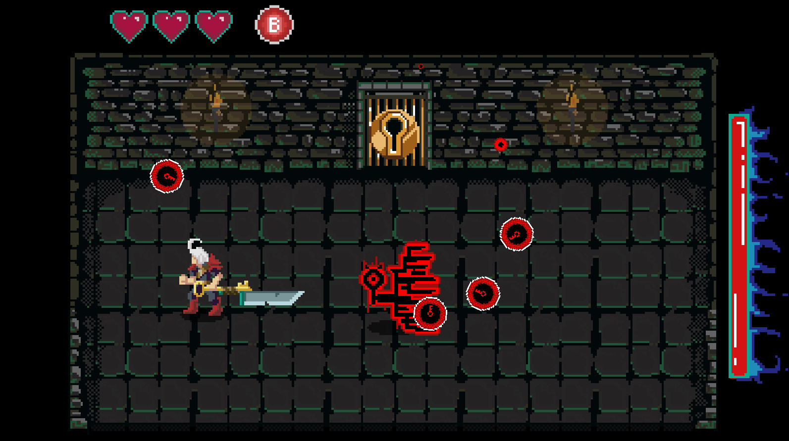 This is the Phase Two of the final boss fight, where the boss transforms into his second form. During Phase One the boss is running around just generally avoiding the Player while enemies bombard you from around the room. The difference is that in Phase Two the boss decides to fight you himself, which is where the fight turns into a bullet hell styled game.