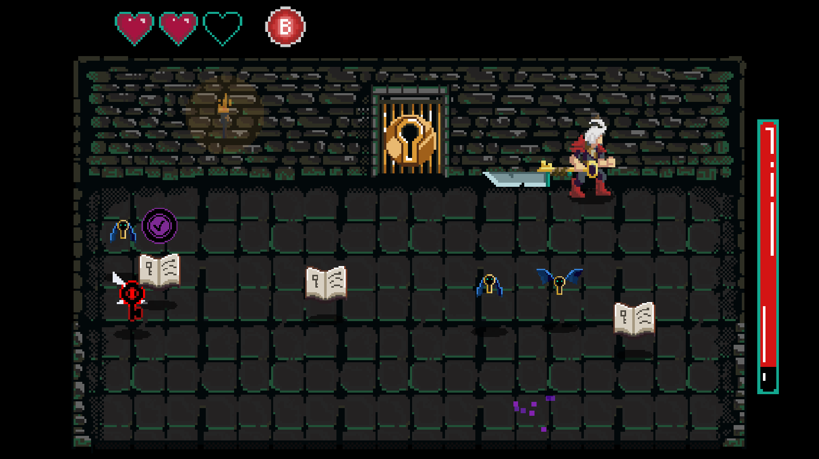 Shown above is Phase One of the final boss fight. Notice that for the boss fight the Boss Room changes color palette as well as the final door. This was to help strengthen the idea that this is a boss instead of a normal enemy room.