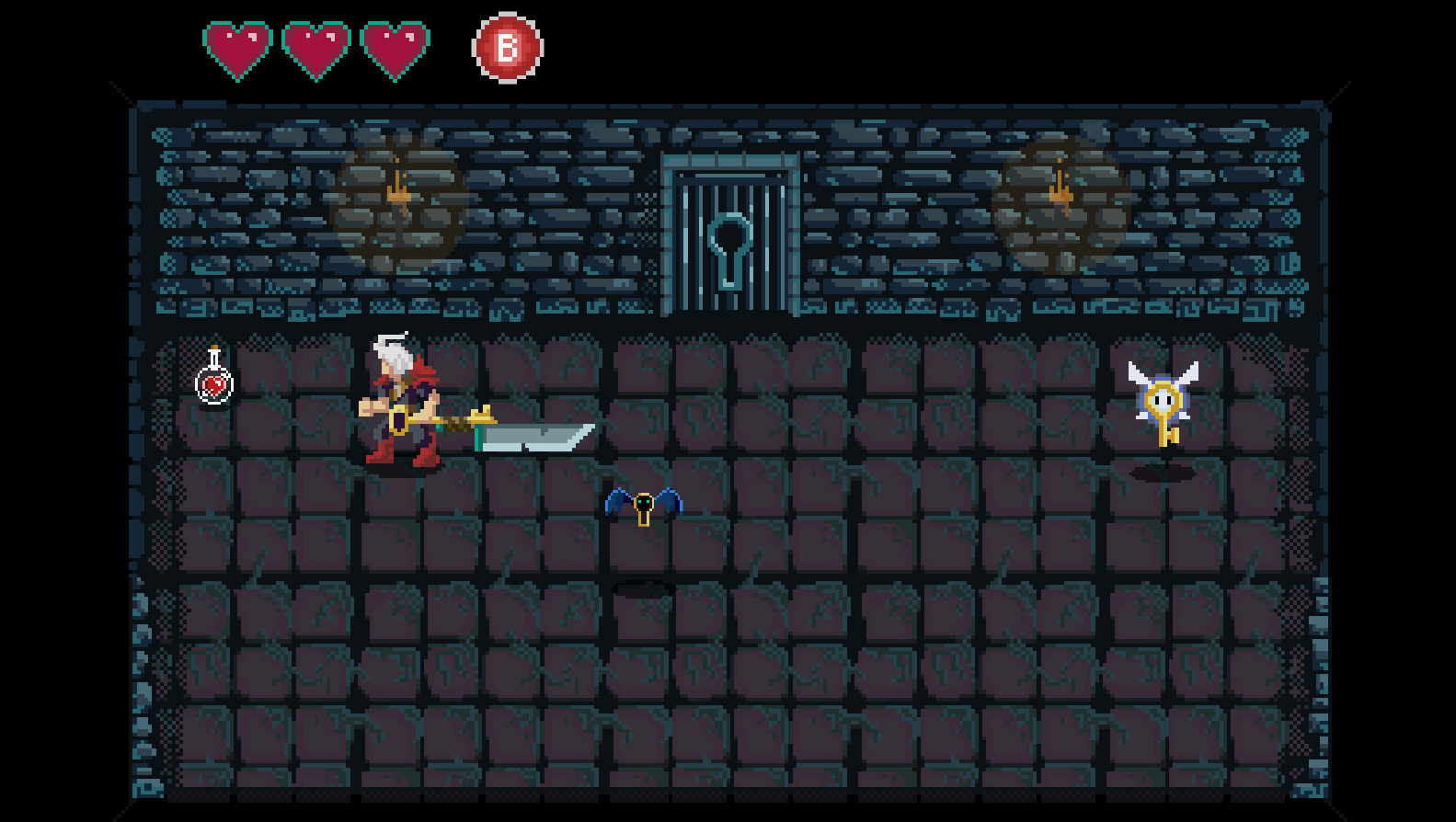 In the top left is a health potion, these are given out rarely to the Player. Since the game was designed for a competition, we wanted people to be able to play our game and still feel the difficulty, while also allowing non-gamers to be able to have the experience as well. A health potion was our answer to this issue.