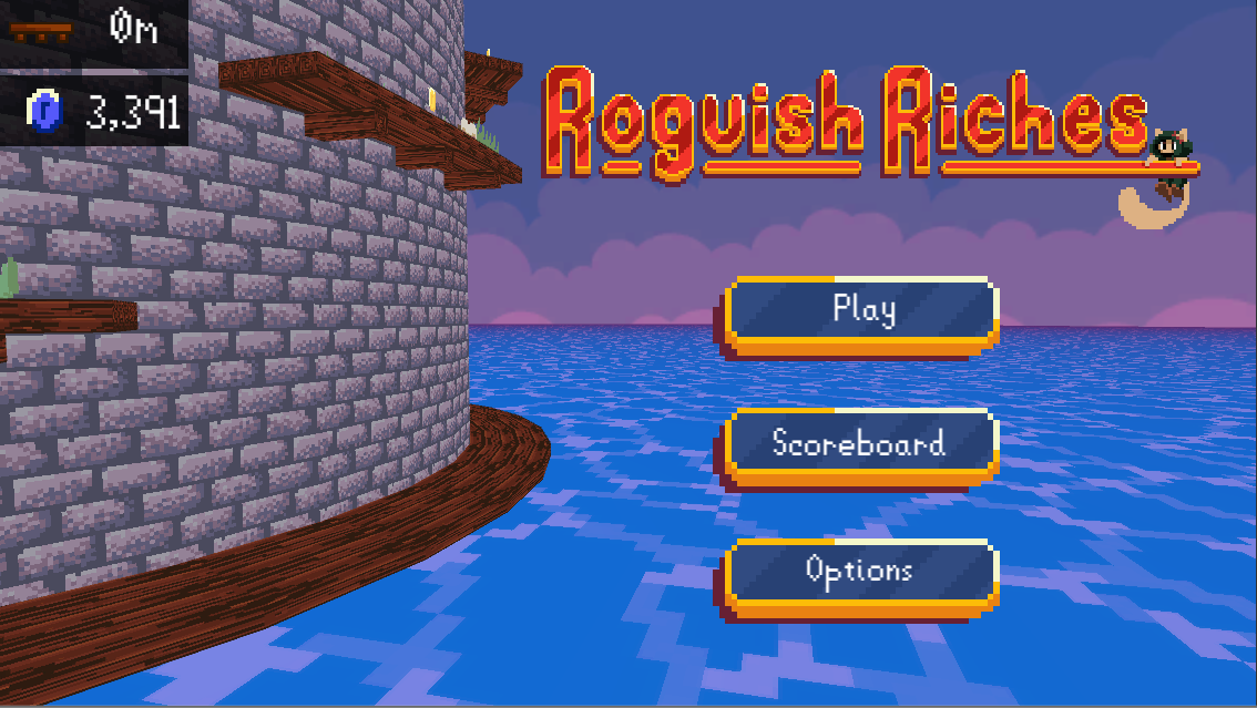 The title screen of Roguish Riches. The Tower spins while the title does a passive animation. While the Tower spins, obstacles that the Player will be facing circle around as a preview to the Player.