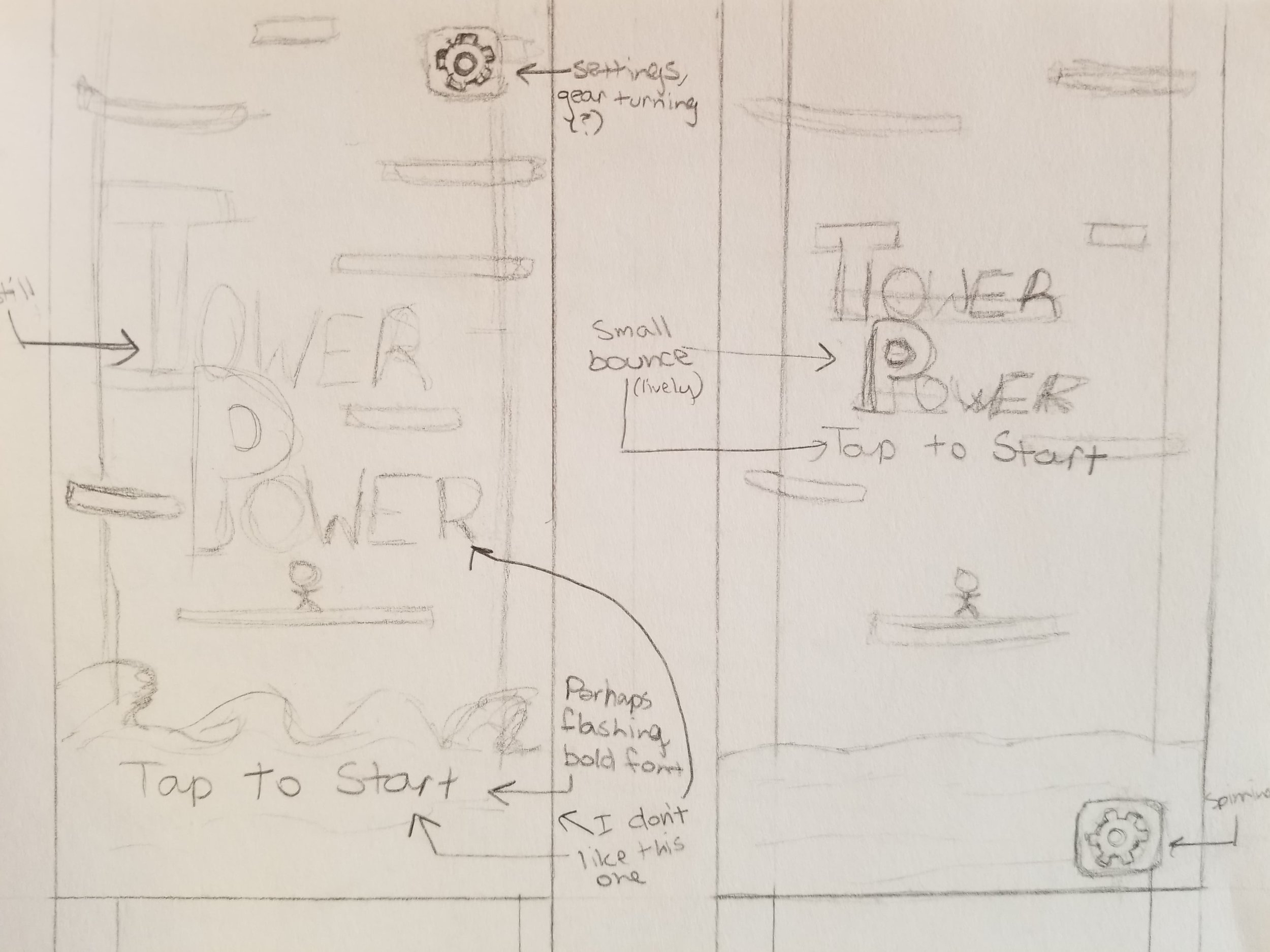 An initial title sketch for what used to be Tower Power, based off of a Hackathon project done by the same team!