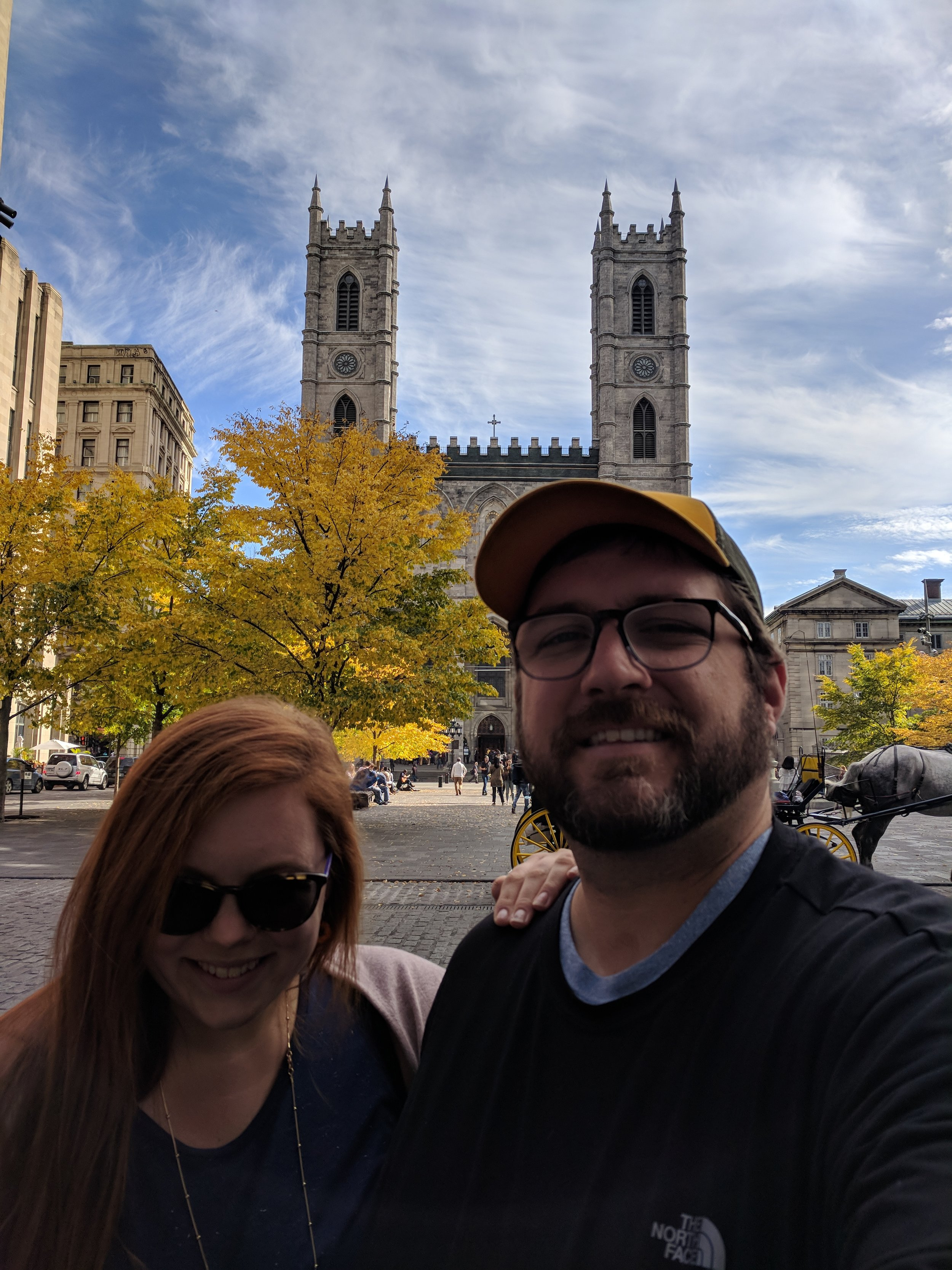 Posing in front of Notre Drame, Montreal