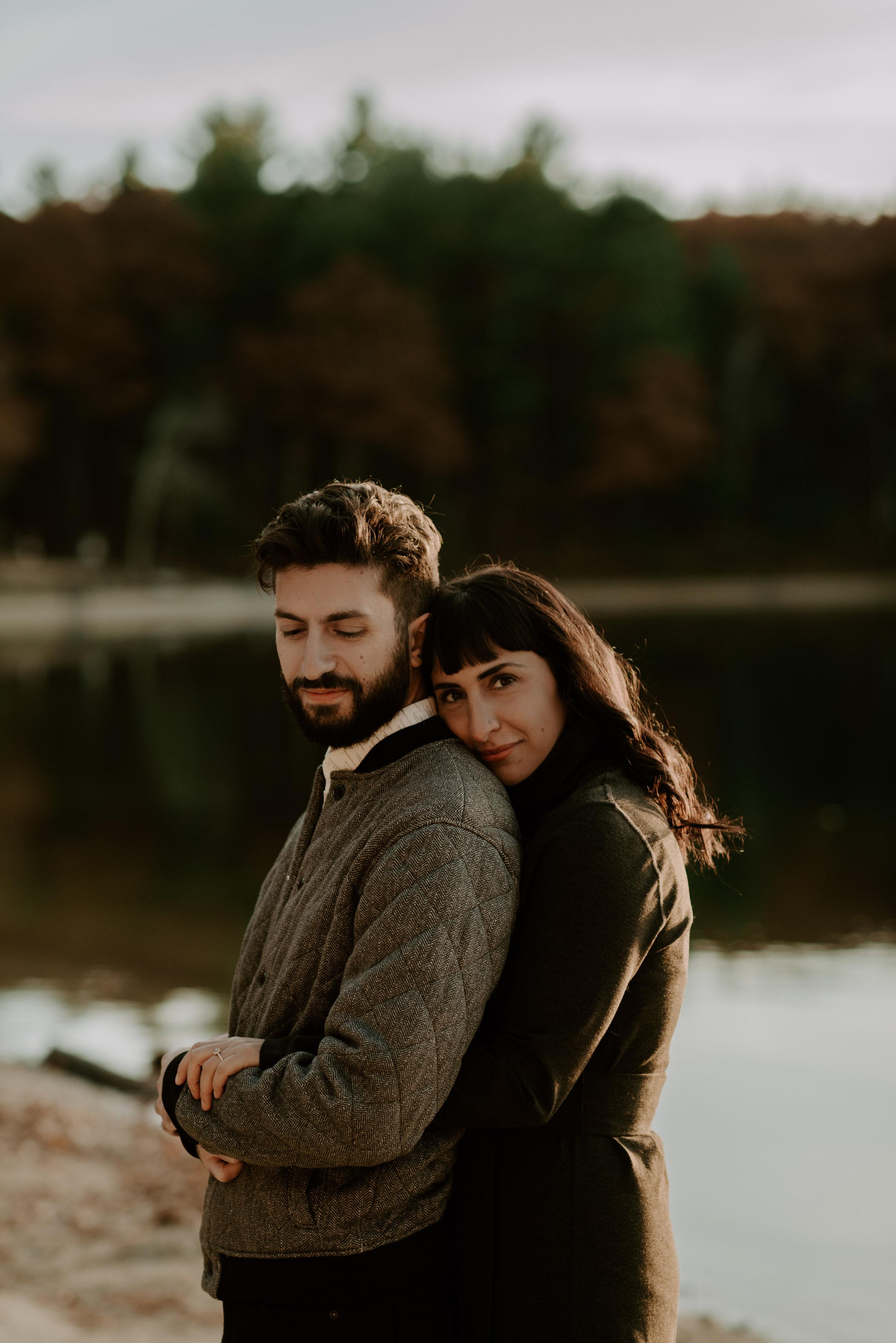 Kiki and Michael's Autumn Walden Pond Engagement Session | Boston Wedding Photographer