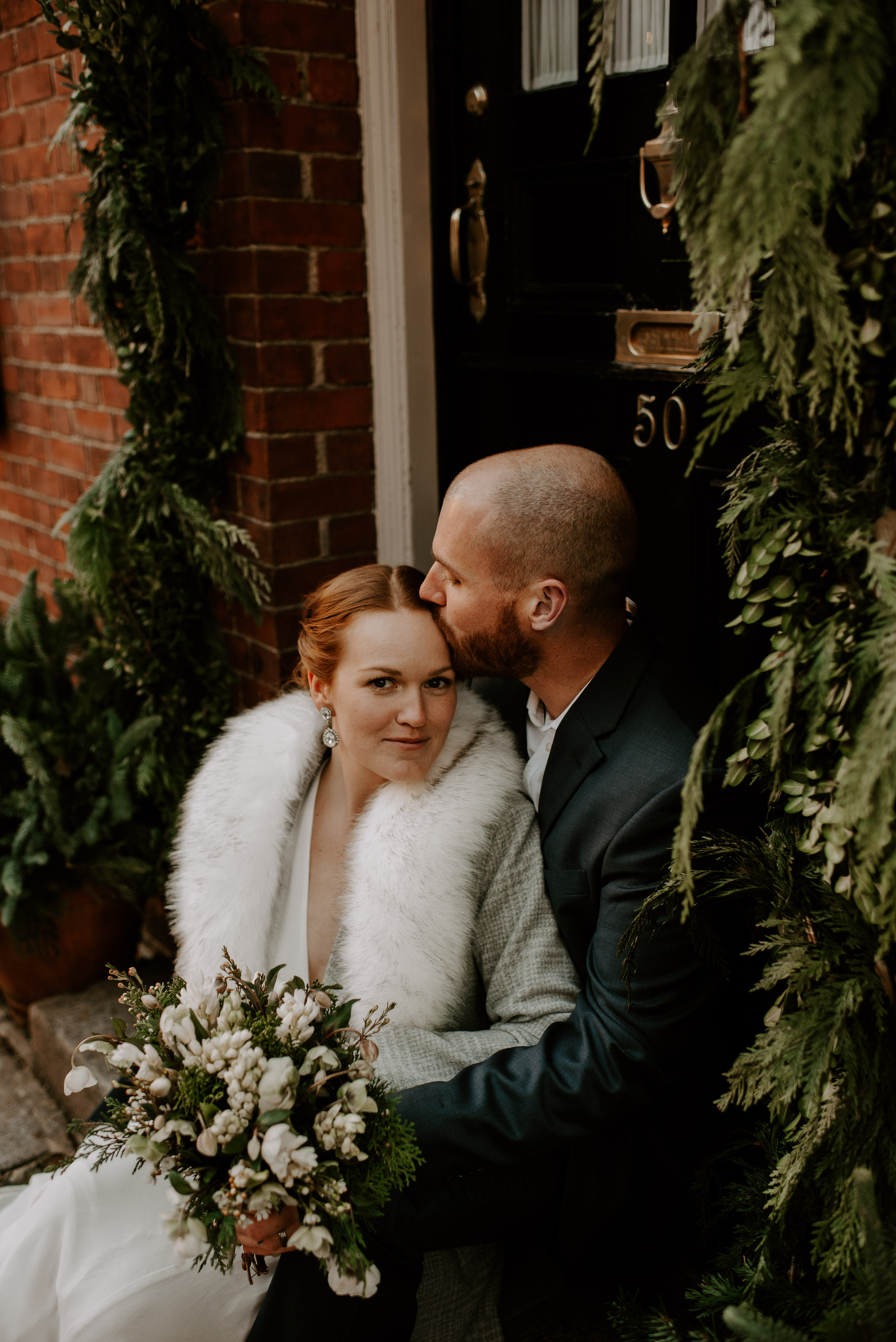 Dramatic and Moody Christmas Elopement in Beacon Hill Boston | Boston Wedding Photographer