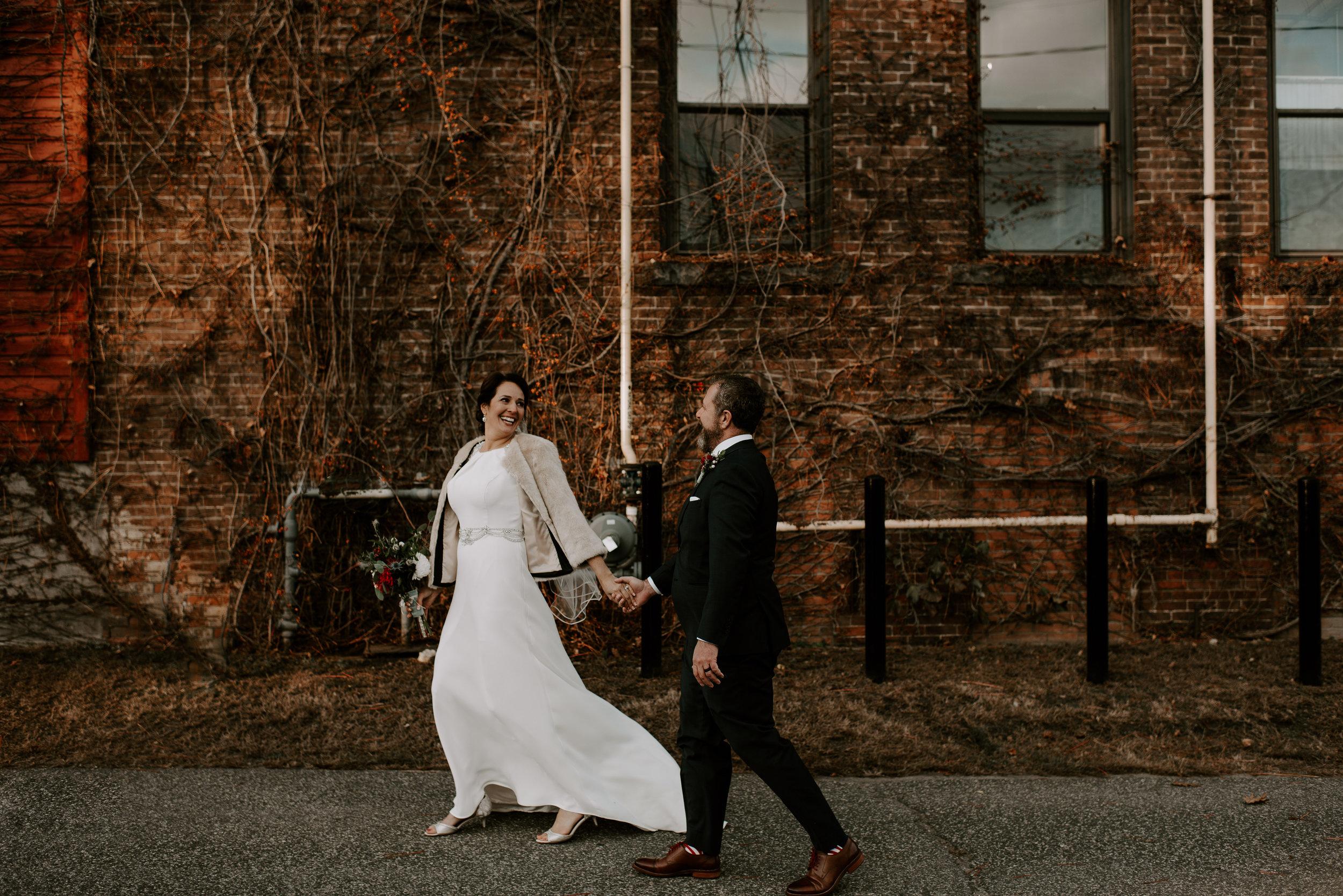 Moody Winter Industrial Berkshires Wedding   Boston Wedding Photographer