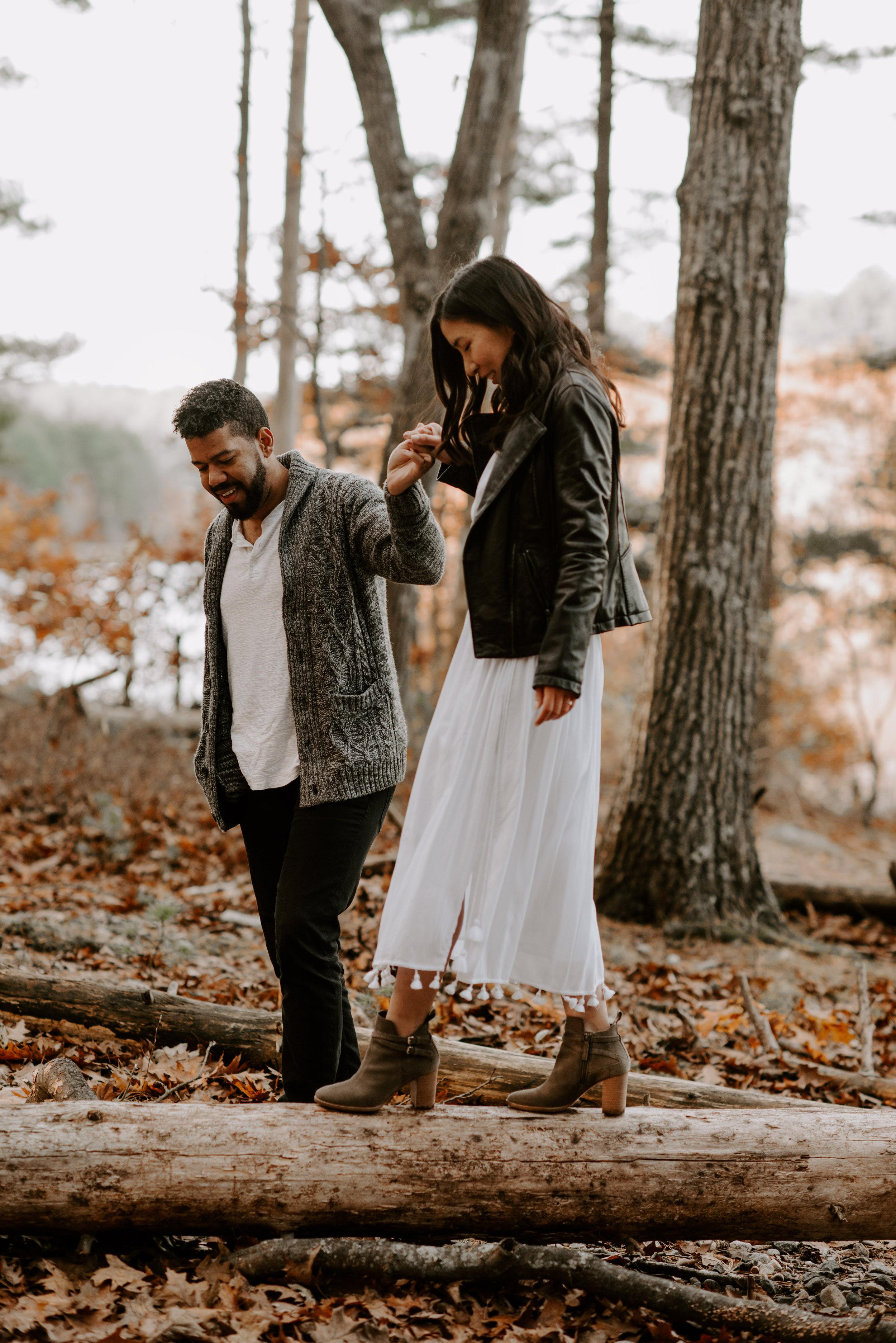 Boston fall foliage engagement session at middle sex fells   boston wedding photographer