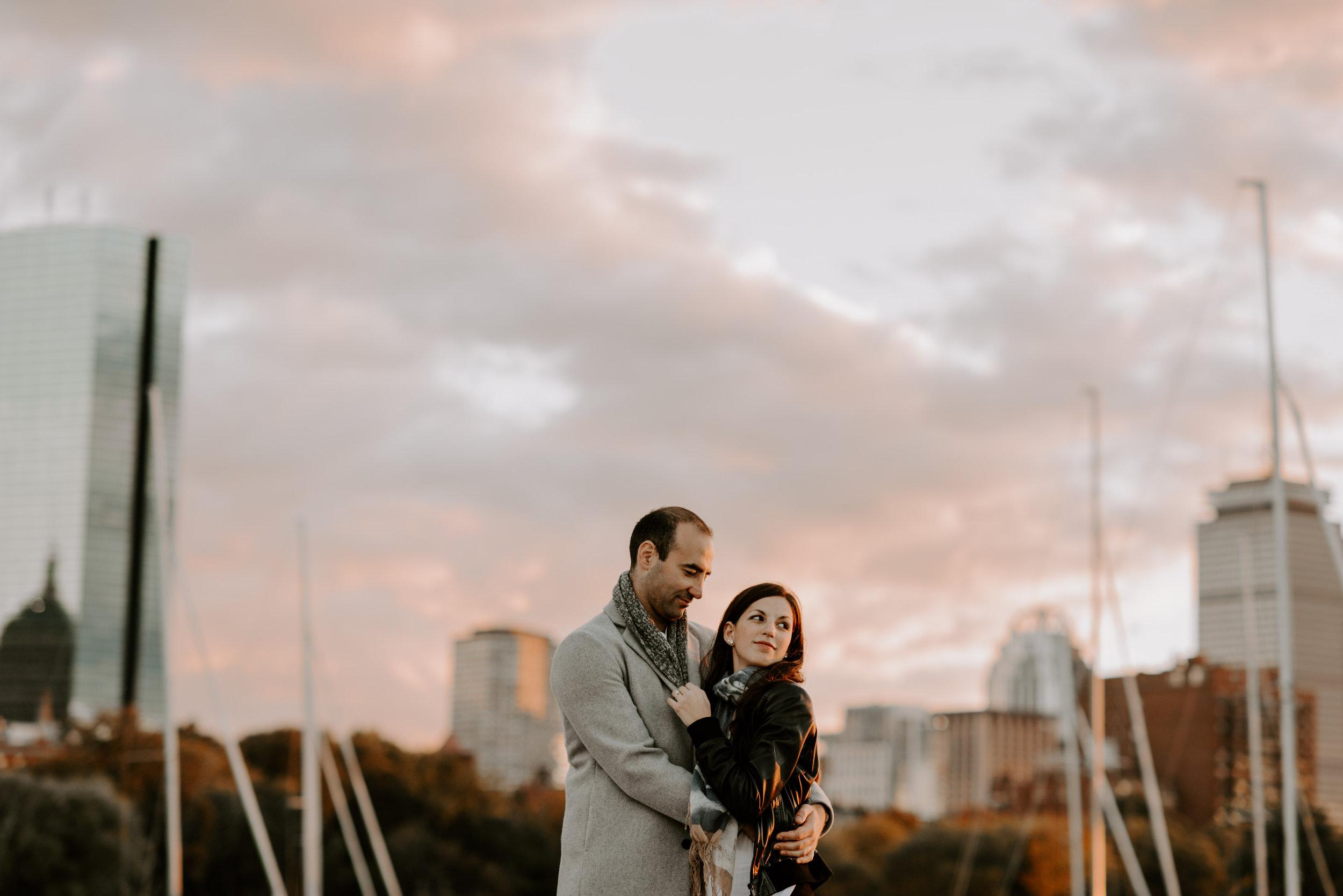 Dramatic and Moody Charles River, Boston Engagement Session | Boston Wedding Photographer | Madeline Rose Photography Co.