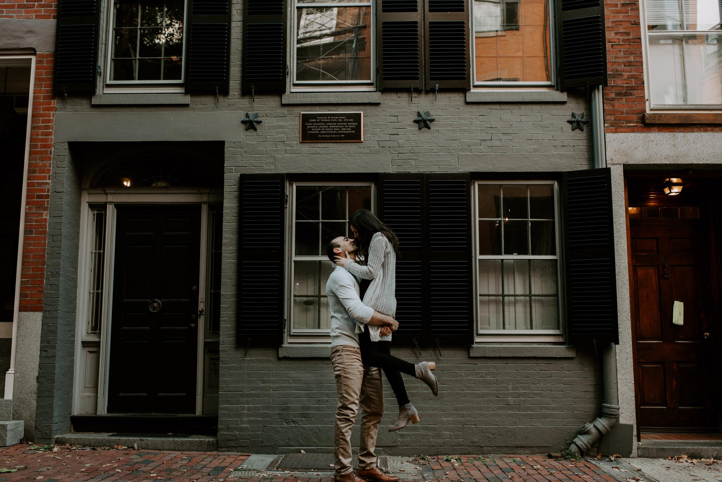Dramatic and Moody Beacon Hill Boston Engagement Session | Boston Wedding Photographer | Madeline Rose Photography Co.
