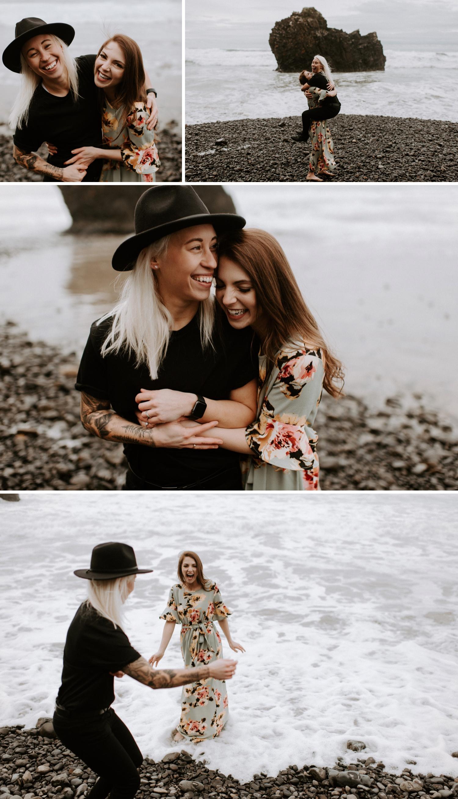 Heather and Kelsey's Hug Point Engagement Session | Oregon Wedding Photographe