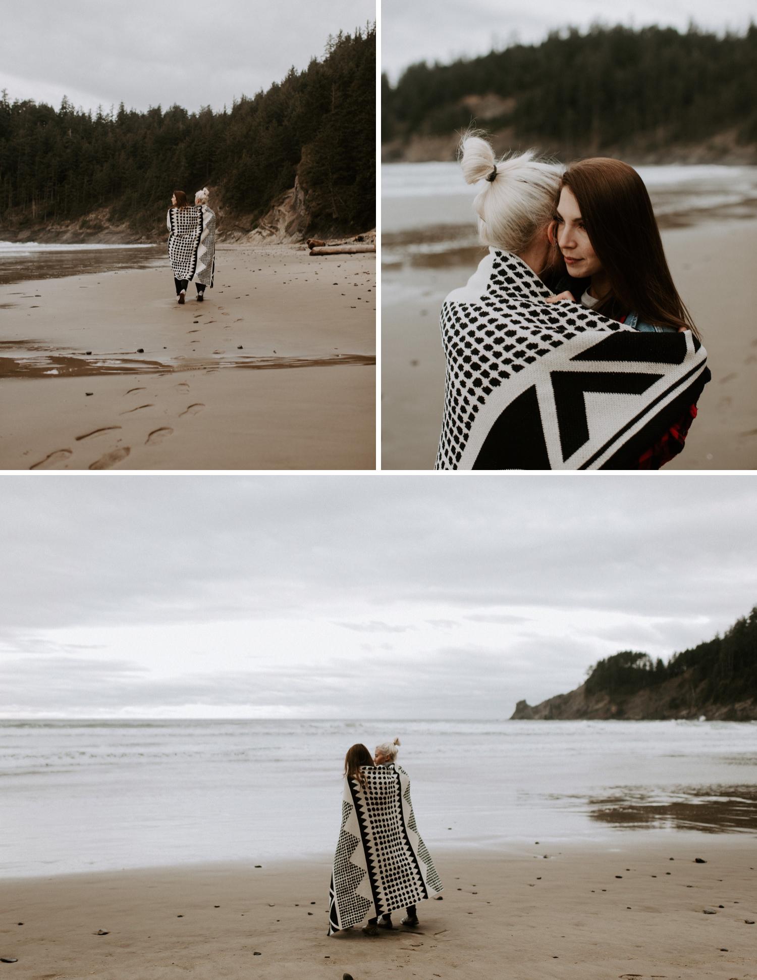 Heather and Kelsey's Cape Oswald Engagement Session | Oregon Wedding Photographe