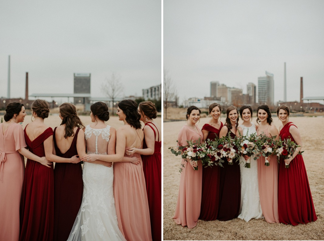 Mismatched Burgundy and Blue Wedding party | Industrial Downtown Birmingham, Alabamam Wedding | Alabama Wedding Photographer