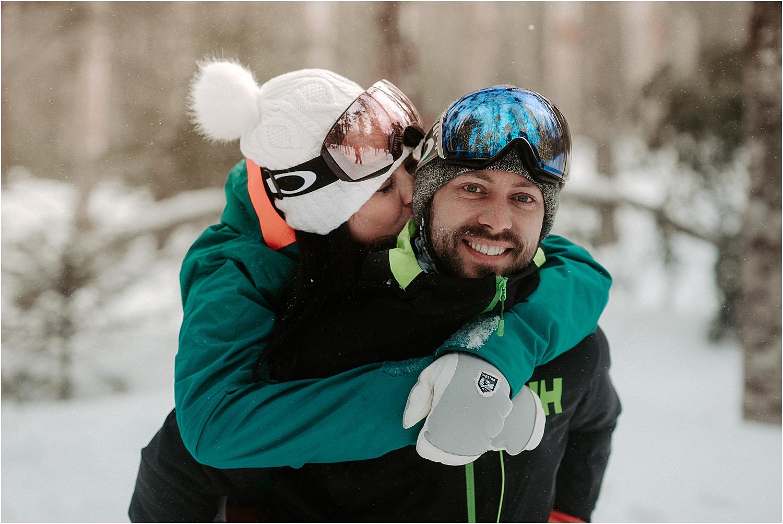 Adventurous Skiing Engagement Session | Oregon Wedding Photographer