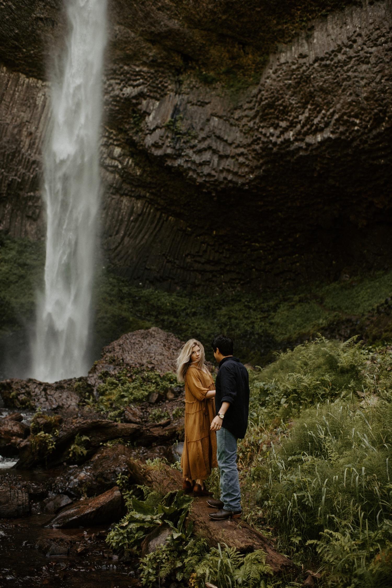 Nicolette and Joseph's Waterfall Honeymoon Session | Latourell Falls Oregon | PNW Wedding Photographer