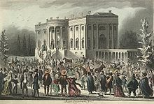 Period illustration showing the view of thr crowd in front of the White House during President Jackson's first inaugural reception in 1829. The furnishings of the White House were destroyed by the rowdy crowd during the inaugural festivities...